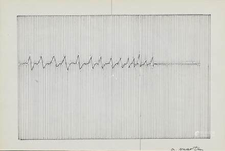 Agnes Martin American-Canadian Abstract Ink Paper