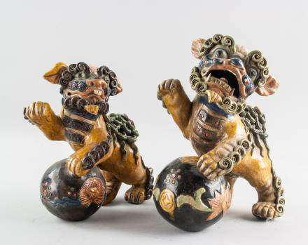 Pair Chinese Tang Style Crackle Glaze Pottery Lion