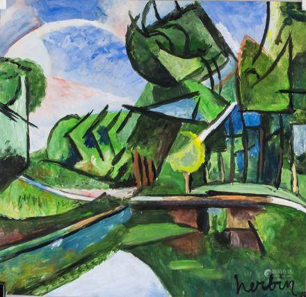 Auguste Herbin French Cubist Tempera Oil on Paper