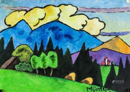 Gabriele Munter German Expressionist Gouache Paper