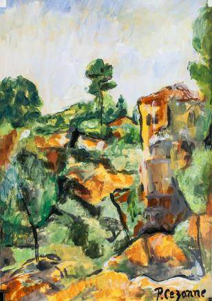 French Post-Imp Tempera Oil Signed P. Cezanne