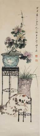 Kong Xiaoyu 1899-1984 WC Cats and Flowers