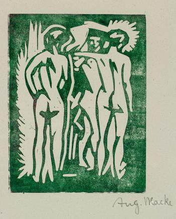 August Macke German Expressionist Woodcut on Paper