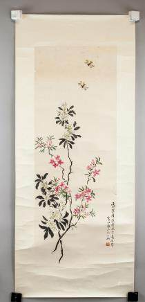 Huang Baohon Flowers in WC on Paper