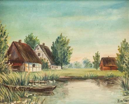 Oil on Board Landscape Signed Krakow Fischerdorf