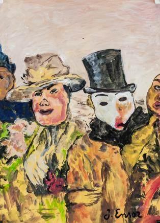James Ensor Belgian Surrealist Oil on Paper