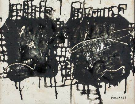 Manolo Millares Spanish Abstract Oil on Canvas