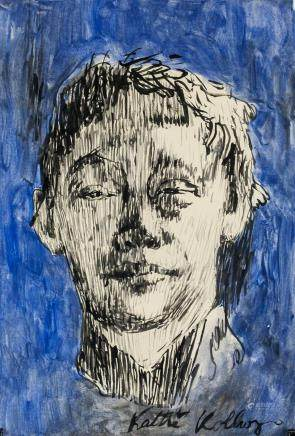 Kathe Kollowitz Ink and Watercolor on Paper