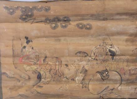16-18 Century Chinese/Japanese Watercolour Scroll