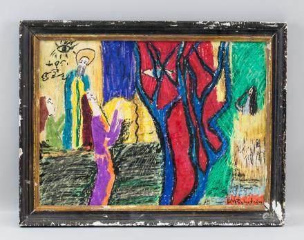 Max Pechstein German Expressionist Pastel on Board