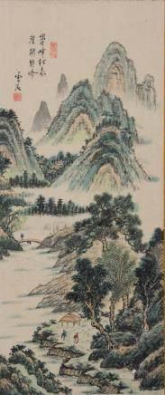Wen Shi Chinese Landscape Print Signed