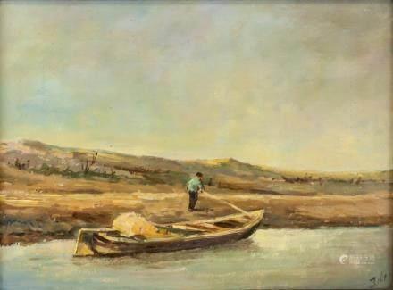 Artist Signed Oil on Board Boat Landscape
