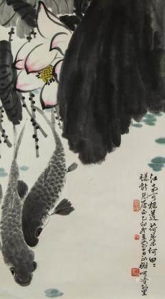 Chen Yongqiang b.1948 Chinese Watercolor Lotus