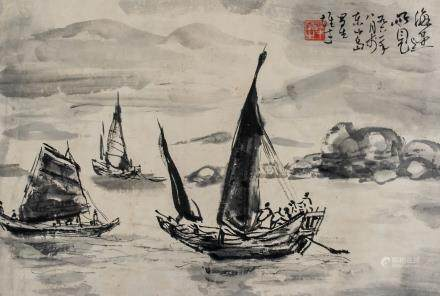 Signed Chinese Ink Boats on Water Landscape