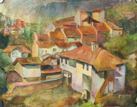 Abraham Manievitch Russian/American Oil on Canvas