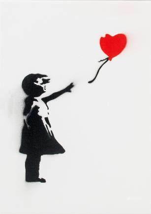 Banksy British Pop Spraypaint Canvas Heart Balloon