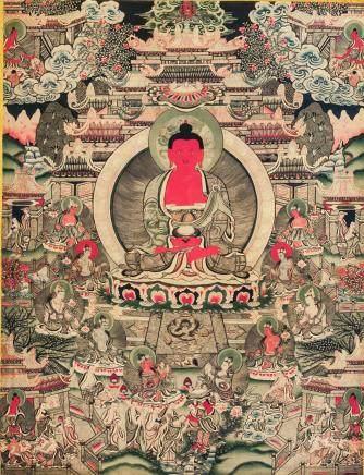 Chinese Print Amitabha Tangka on Fabric