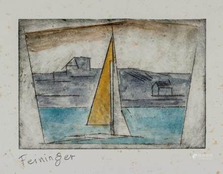 Lyonel Feininger German Expressionist Sign Woodcut