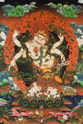 Print Thangka on Canvas White Mahakala