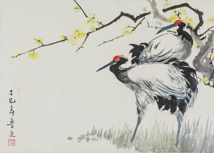 Lu Jin Modern Chinese Watercolor Cranes