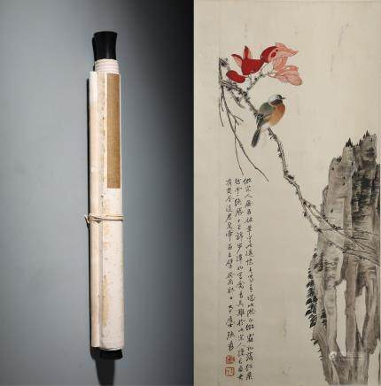 A Fine Chinese Handpainted- Scroll of Flowers and Birds Signed by Zhang DaQian