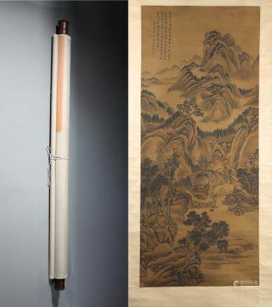 A Fine Chinese Hand-painted Scroll Signed by Wanghui