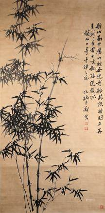 A Fine Chinese Hand-painted Scroll Signed by Zheng Banqiao