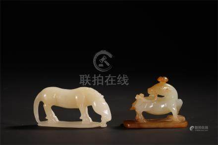 TWO CHINESE JADE HORSE AND DEER TABLE ITEMS