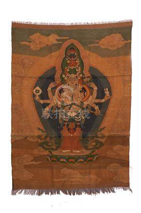 CHINESE EMBROIDERY KESI TAPESTRY OF STANDING EIGHT ARM GUANYIN