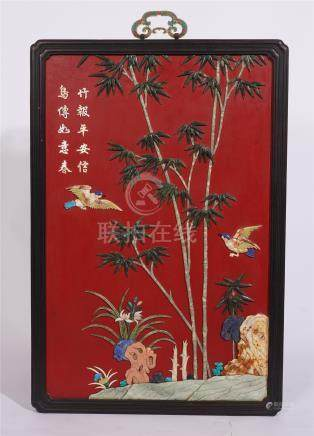 CHINESE GEM STONE INLAID RED LACQUER ROSEWOOD WALL HANGED SCREEN