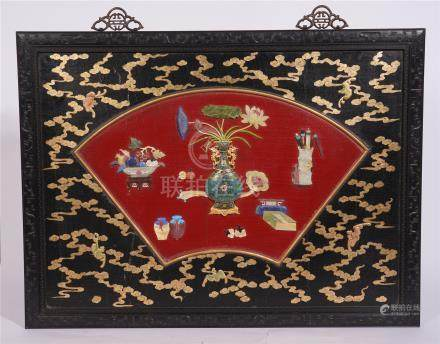 CHINESE GEM STONE INLAID GOLD PAINTED LACQUER HARDWOOD ZITAN WALL HANGED SCREEN