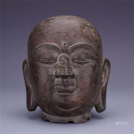 CHINESE BRONZE BUUDHA HEAD