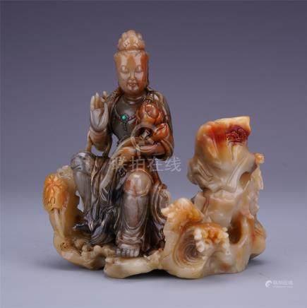CHINESE SOAPSTONE SEATED BUDDHA ON ELEPHANT