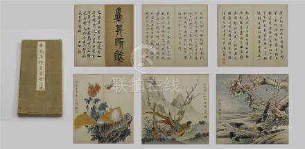 SIX PAGES OF CHINESE ALBUM PAINTING OF BIRD WITH CALLIGRAPHY