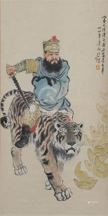 CHINESE SCROLL PAINTING OF WARROIR ON TIGER