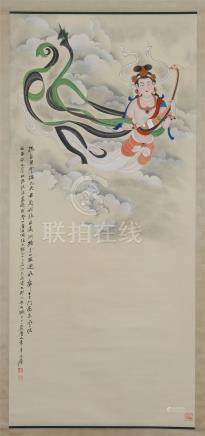CHINESE SCROLL PAINTING OF FLYING BEAUTY