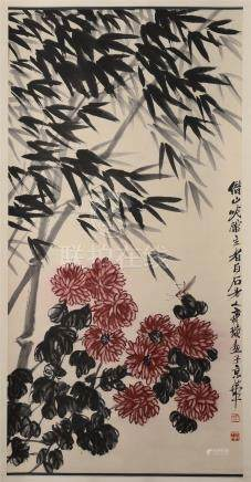 CHINESE SCROLL PAINTING OF BAMBOO AND FLOWER