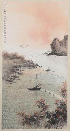 CHINESE SCROLL PAINTING OF RIVER VIEWS