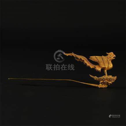 CHINESE PURE GOLD PHOENIX HAIR PIN LIAO DYNASTY