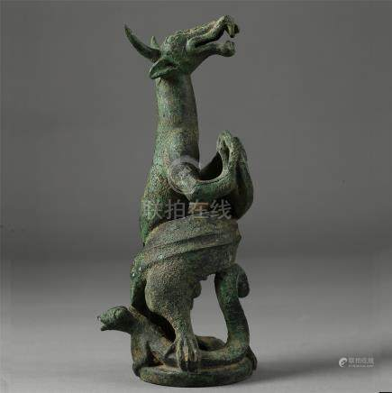 CHINESE ANCIENT BRONZE BEAST TABLE ITEM