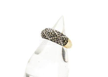A 9ct gold diamond bombe shaped half eternity ring, the different coloured diamonds in lozenge