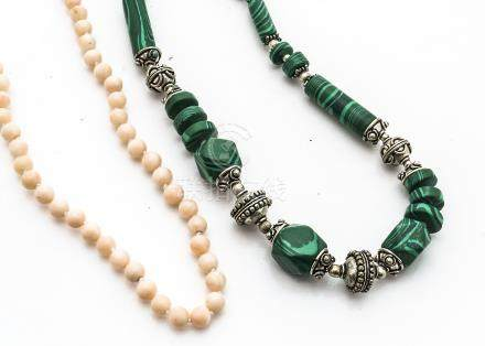 A graduated knotted, strung, coral bead necklace, 42cm long together with a malachite and silver