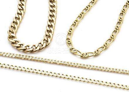 Two 9ct gold curb linked necklaces, and two gold curb linked bracelets, one marked 750, the other