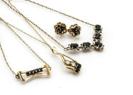 A 9ct gold sapphire and diamond necklace, together with a pair of sapphire cluster earrings, and two