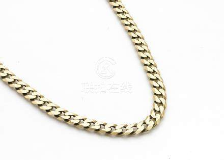 A 9ct gold curb linked necklace, 47cm long max, 23g