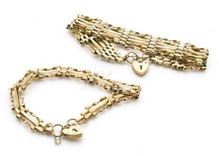 Two 9ct gold padlock clasp gate bracelets, one five bar example and one three bar, 14g
