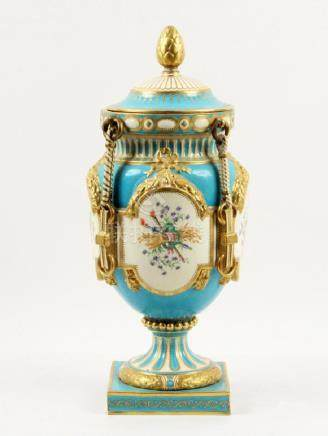 CONTINENTAL PORCELAIN LIDDED URN