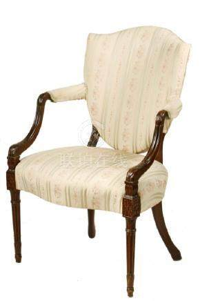 SHERATON PERIOD UPHOLSTERED OPEN ARMCHAIR