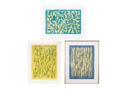 難波田 龍起LITHOGRAPY 1987 (夏日早晨/野之瞑想/黃色的家)全3幅