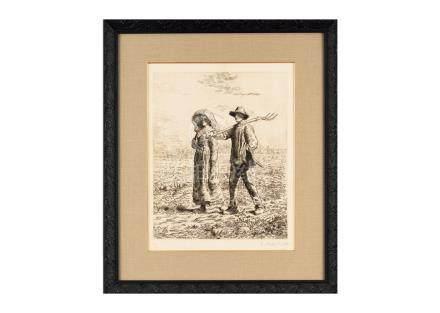 Jean François Millet (尚・法蘭索瓦・米勒)出門工作的農家夫婦(Dollet版)